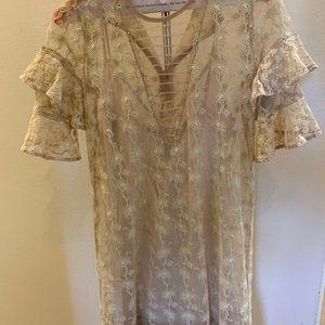 All Saints Embroidered Cream Dress
